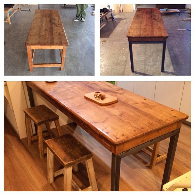 お客様からのご依頼で、テーブルの木の脚をアイアンに付け替え。低めだったテーブルの高さも、スツールに合うよう調整しました。愛着のあるテーブルの天板はそのままに、鉄脚にリメイクするだけでガラッと印象が変わり…見た目も使い心地もとても気に入っていただけました。