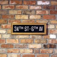 額に入ったニューヨークのヴィンテージのバスロールサイン