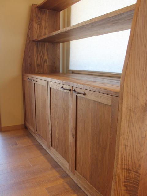 商品棚、棚、シェルフ、家具、什器、無垢、オーダー、オイル仕上げ、滋賀