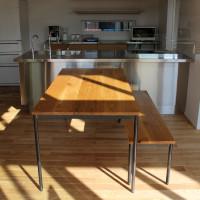 アイアンフレーム、ダイニングテーブル、ベンチ、鉄脚、滋賀
