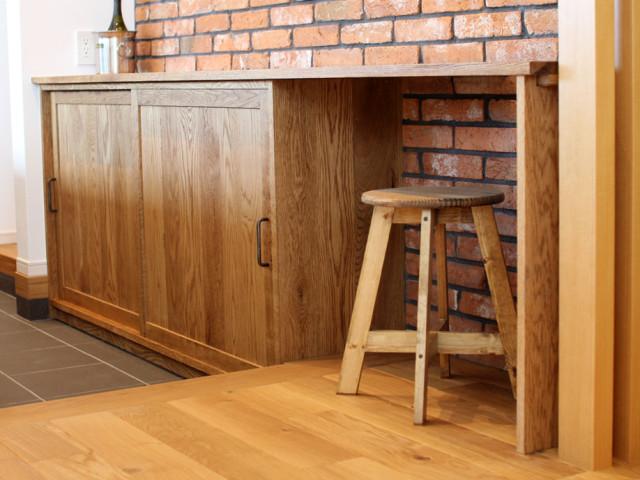 キッチン収納棚、食器棚、オーク