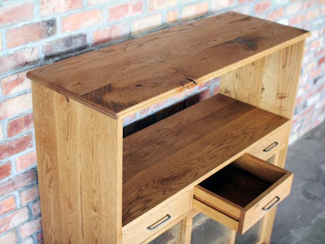 食器棚、キャビネット、キッチン、無垢、オーク、棚